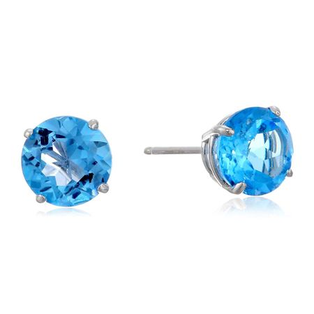 6mm Swiss Blue Topaz Stud Earrings