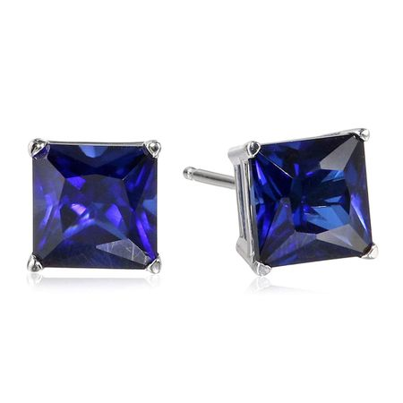 Sapphire Square Stud Earrings