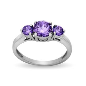 Ring with Purple Cubic Zirconia