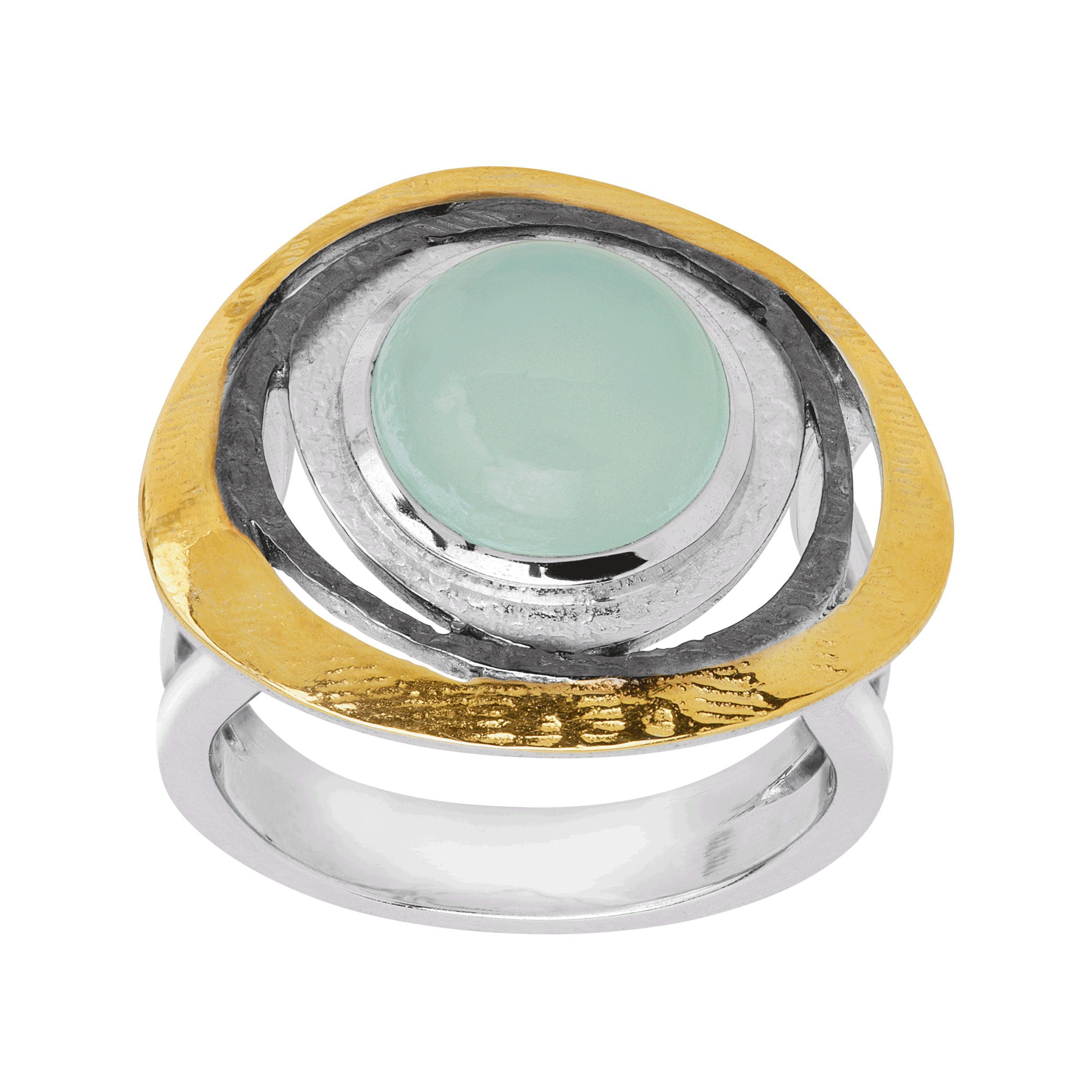 925 Sterling Silver 14K Yellow Gold Plated Natural Chalcedony Ring Jewelry