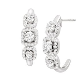 1/2 ct Diamond J-Hoop Earrings