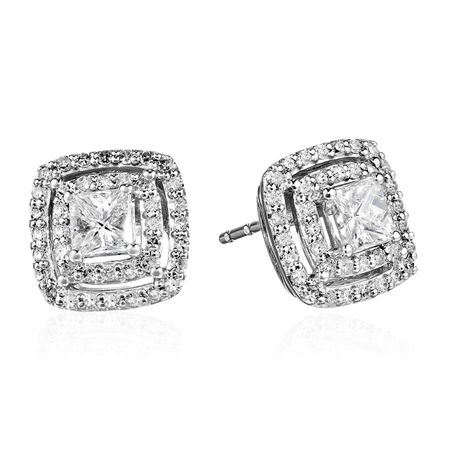 1 ct Diamond Double Halo Stud Earrings