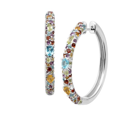 Rainbow Multi-Stone Hoop Earrings