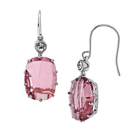 Pink & White Crystal Drop Earrings