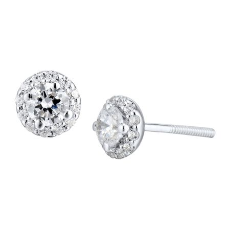 1/2 ct Diamond Halo Stud Earrings