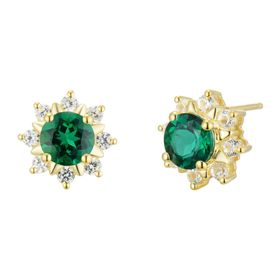Emerald & White Sapphire Flower Stud Earrings