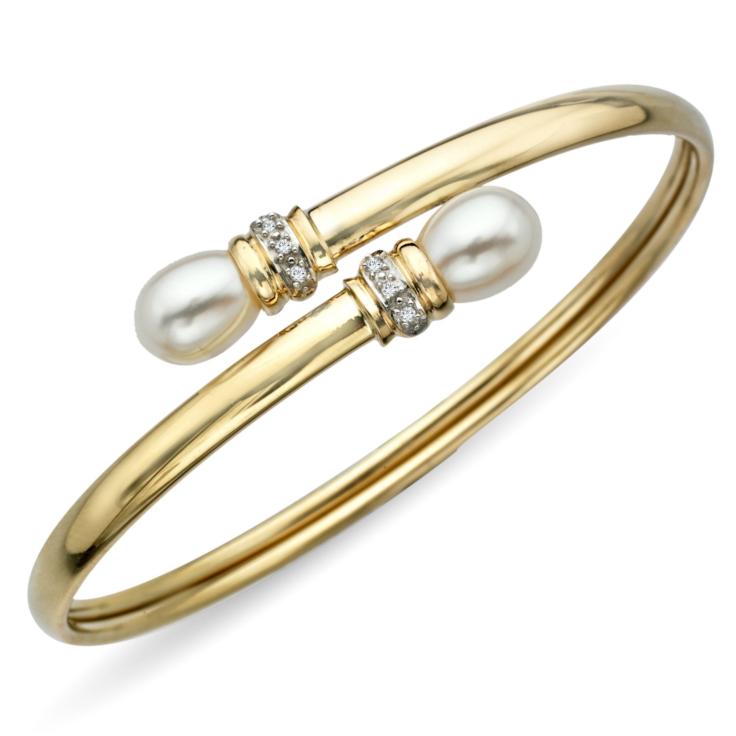 6 5 Mm Pearl Bangle Bracelet With Diamonds In 10k Gold