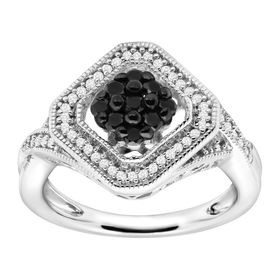 1/2 ct Black and White Diamond Tile Ring