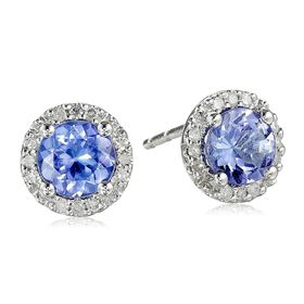 Tanzanite & 1/10 ct Diamond Stud Earrings