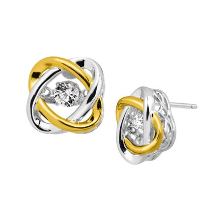 3/8 ct White Sapphire Two-Tone Floater Stud Earrings