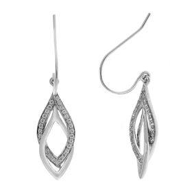 1/4 Ct Diamond Leaf Drop Earrings