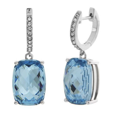 Blue Cushion Drop Earrings with Swarovski Crystals