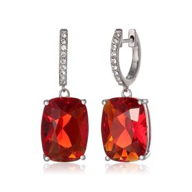Red Cushion Drop Earrings with Swarovski Crystals