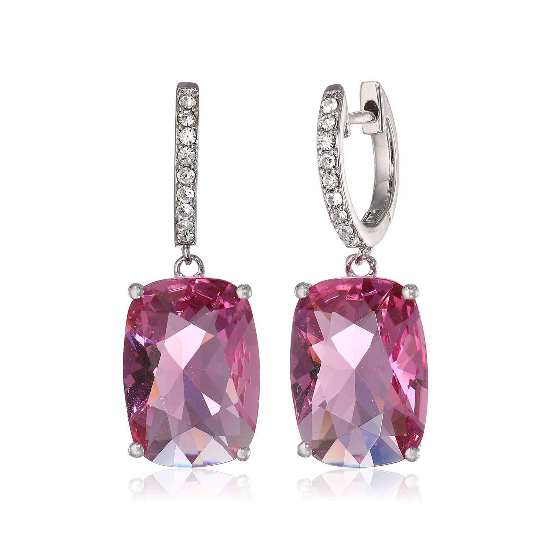 a4e459417028d Crystaluxe Pink Cushion Drop Earrings with Swarovski Crystals in Sterling  Silver