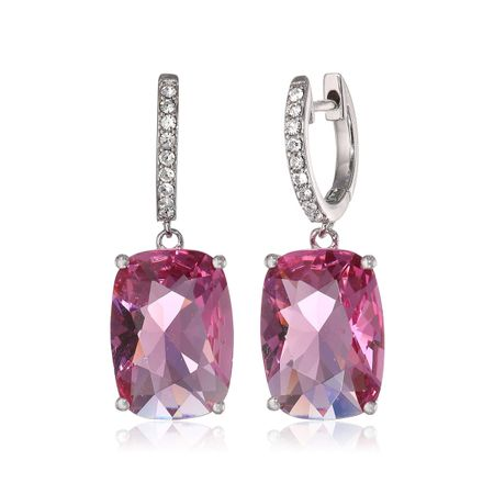Pink Cushion Drop Earrings with Swarovski Crystals