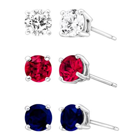 3 3/8 ct Ruby, Blue & White Sapphire Stud Earring Set