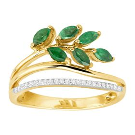1/2 ct Emerald Leaf Ring with Diamonds