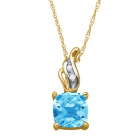 1 1/5 ct Swiss Blue Topaz Pendant with Diamonds