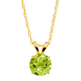 1 ct Peridot Round-Cut Solitaire Pendant