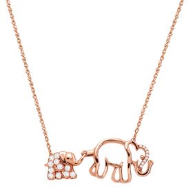 1/4 ct White Topaz Mother & Baby Elephant Necklace with Diamonds