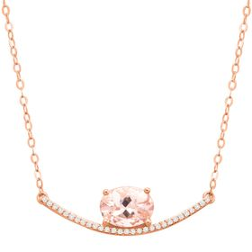 Morganite Curved Bar Necklace with Diamonds