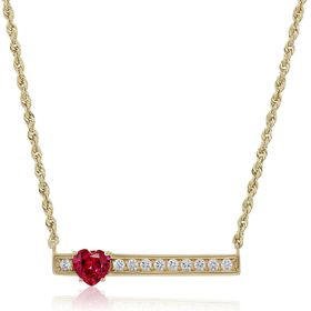 Ruby & White Sapphire Heart Bar Necklace