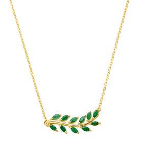 1 ct Emerald Leaf Garland Necklace