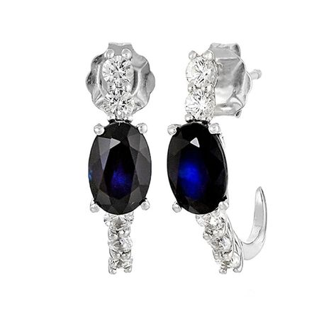 1 3/4 ct Blue & White Sapphire J-Hoop Earrings
