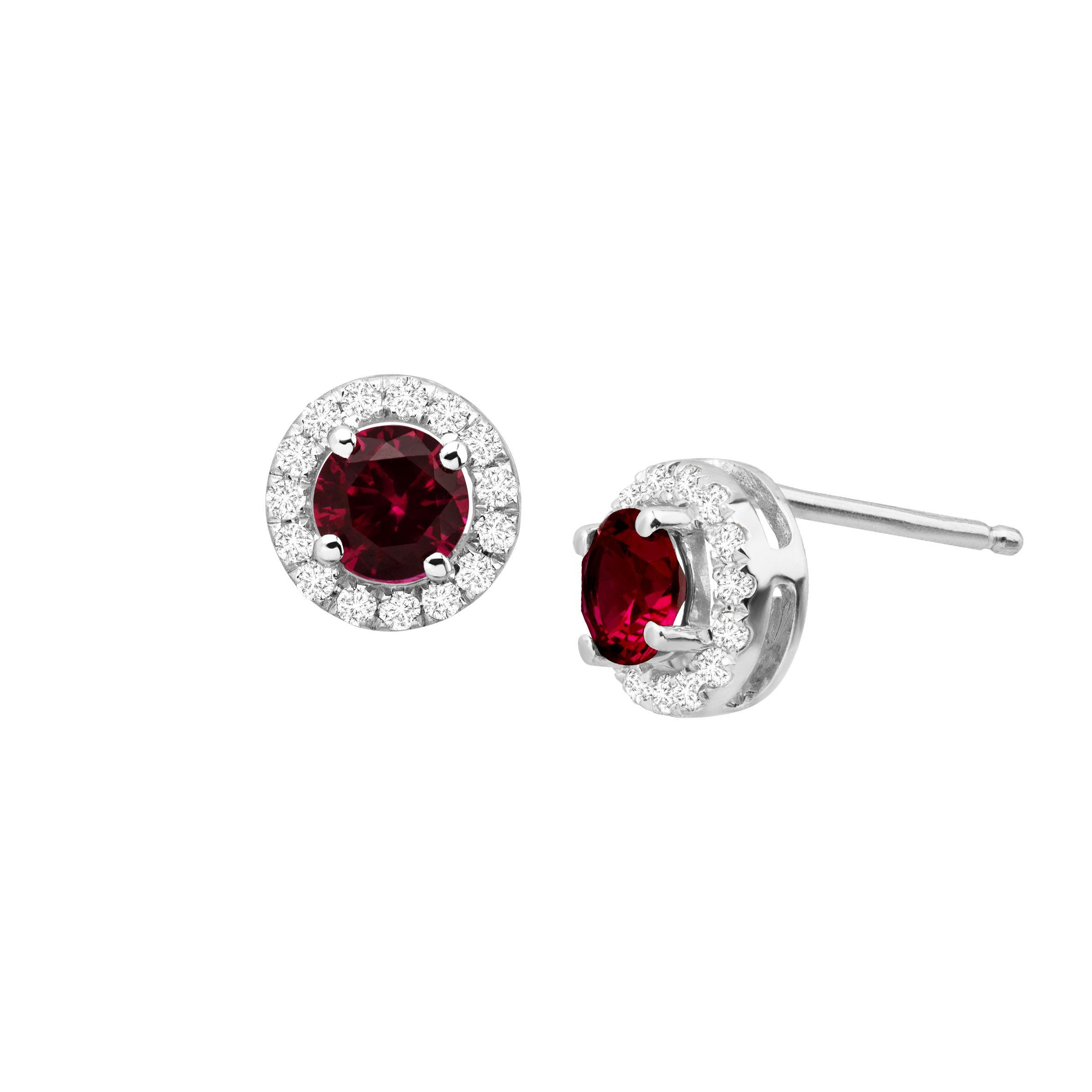 e2b68fe38 Details about 7/8 ct Created Ruby & White Sapphire Halo Stud Earrings in  10K White Gold