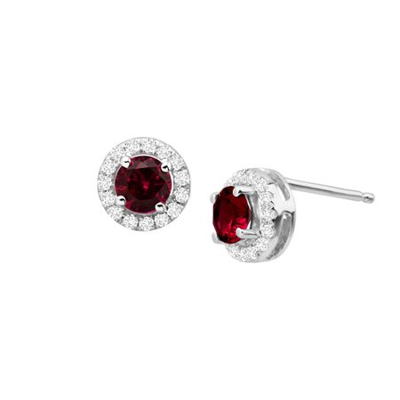 7/8 ct Ruby & White Sapphire Halo Stud Earrings