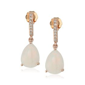 Opal Drop Earrings with Diamonds