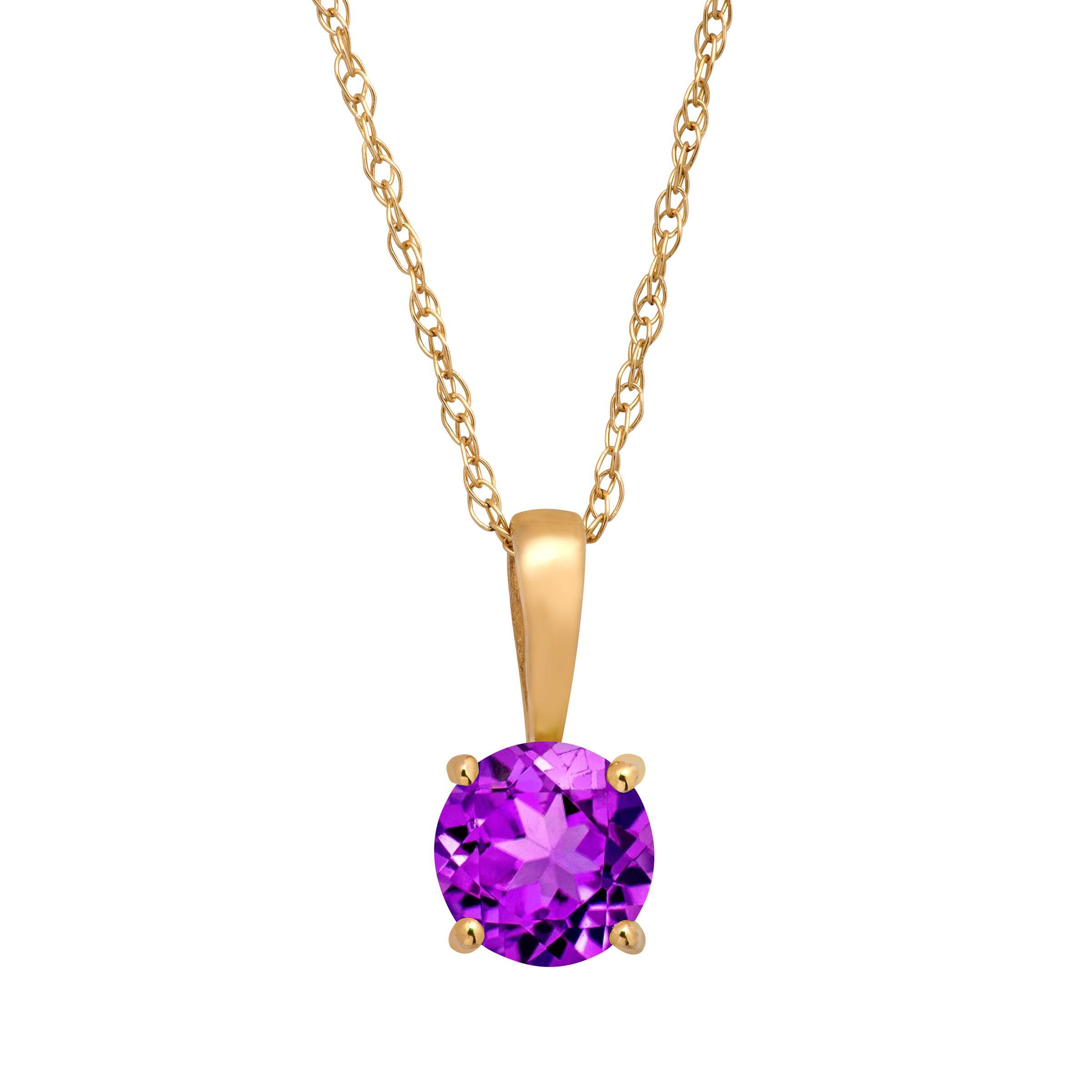 38 ct natural round cut amethyst pendant necklace in 10k yellow 38 ct natural round cut amethyst pendant necklace in 10k yellow gold 16 mozeypictures Gallery