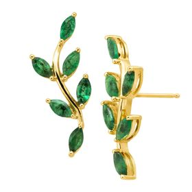 2 ct Emerald Leaf Climber Earrings