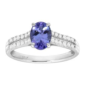 1 3/8 ct Tanzanite & 1/5 ct Diamond Ring
