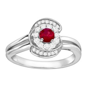 1/3 ct Ruby & 1/4 ct Diamond Swirl Ring