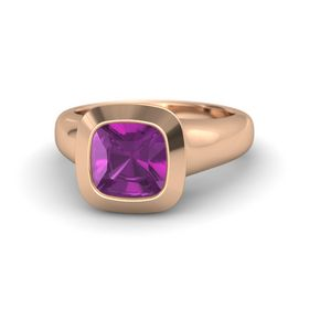 Cushion Rhodolite Garnet 14K Rose Gold Ring
