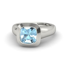 Cushion Aquamarine 14K White Gold Ring