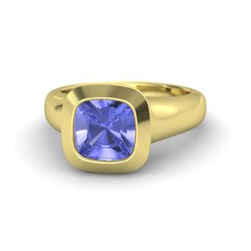 Cushion Tanzanite 14K Yellow Gold Ring