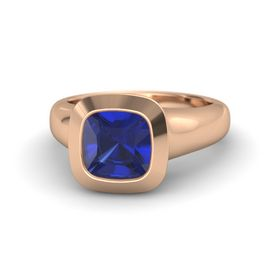 Cushion Blue Sapphire 18K Rose Gold Ring