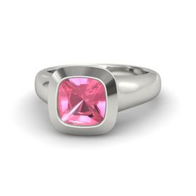 Cushion Pink Tourmaline Palladium Ring