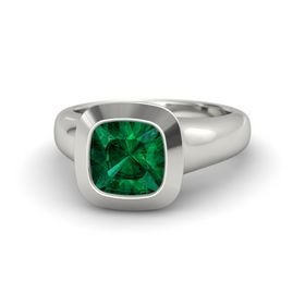 Cushion Emerald Platinum Ring