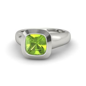 Cushion Peridot Platinum Ring