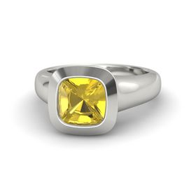 Cushion Yellow Sapphire Platinum Ring