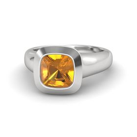 Cushion Citrine Sterling Silver Ring