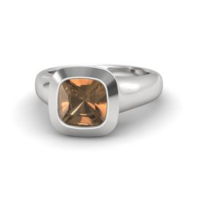Cushion Smoky Quartz Sterling Silver Ring