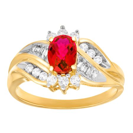 1 1/3 ct Ruby & White Sapphire Ring with Diamonds