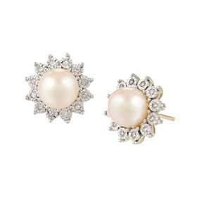 7 mm Pearl & 1/8 ct Diamond Stud Earrings