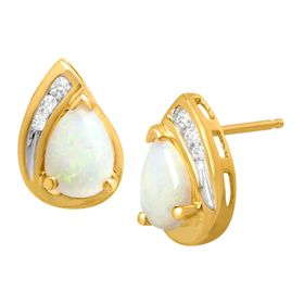 3/4 ct Opal Stud Earrings with Diamonds