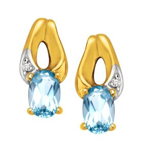 3/8 ct Aquamarine Stud Earrings with Diamonds