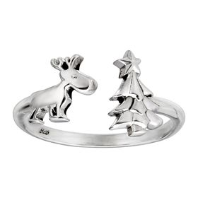 Reindeer & Christmas Tree Adjustable Holiday Ring